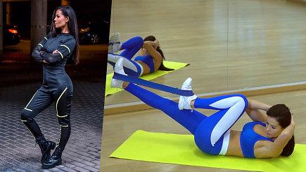 Sportuokite kartu su Indre Burlinskaite. Treniruotė pilvo presui