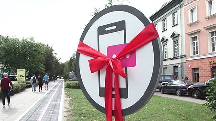 Pirmoji tokia Lietuvoje: Vokiečių gatvėje atidarytas takas išmaniesiems telefonams