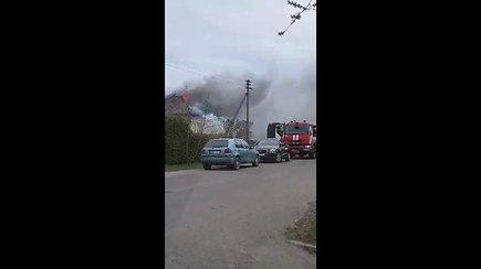 Pakruojyje per gaisrą sudegė namo stogas
