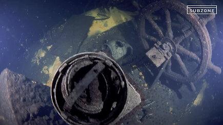 """Įspūdingi vaizdai: S.Kerkau su komanda panėrė ir įmažino laivą """"Prezidentas Smetona"""""""