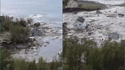Užfiksavo dramatišką vaizdą, kaip galinga nuošliauža į jūrą nusineša namus