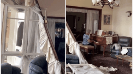 Internete plinta jaudinantis vaizdo įrašas: sprogimo apgriautame bute moteris skambino jautrią melodiją