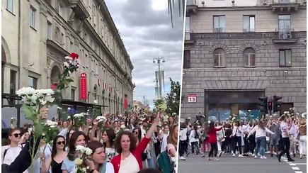 Minsko gatves tvindo minios su gėlėmis: protesto spalva – balta
