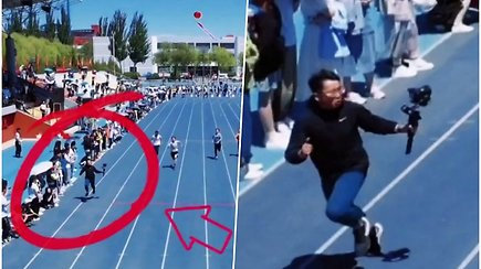 Tapo interneto sensacija: operatorius bėgo greičiau nei sportininkai, kad užfiksuotų geriausius kadrus