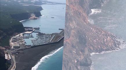 Po ugnikalnio išsiveržimo kilo griūtis – į vandenį patekusi lava gali sukelti nuodingus dūmus ir net sprogimus