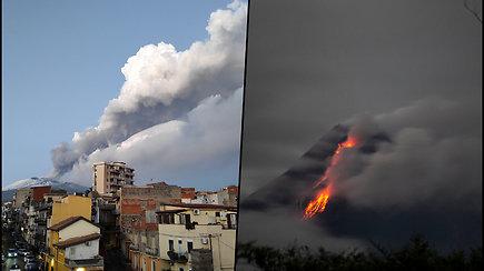 Sicilijos sala skęsta dūmuose – ugnikalnis spjaudosi lava, miestus nuklojo pelenai