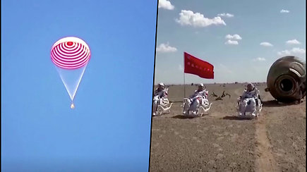 Kinijos astronautai sugrįžoį Žemę – kosmose praleido 3 mėnesius