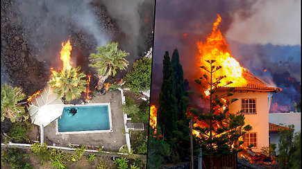 Kanaruose išsiveržusio ugnikalnio lava naikina viską savo kelyje – sudegino dešimtis namų
