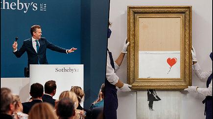 Meno pasaulis apstulbo – paslaptingojo Banksy piešinys parduotas už 21,9 mln. eurų