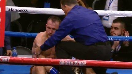 Po 4 nokdaunų atsistojęs E.Kavaliauskas galiausiai pralaimėjo kylančiai JAV bokso žvaigždei