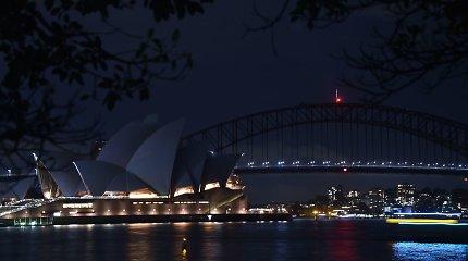 Prasidedant pasaulinei Žemės valandos kampanijai, užtemo Sidnėjaus šviesos
