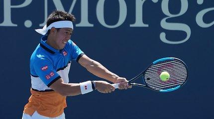 """""""US Open"""" startas pažymėtas Kei Nishikorio varžovo trauma"""
