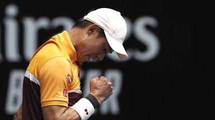 """Dviejų setų deficitą panaikinęs K.Nishikoris įveikė pirmą """"Australian Open"""" barjerą"""
