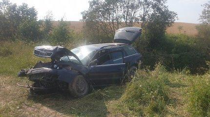 Kelyje Trakai–Rūdiškės sekmadienį vertėsi mašina, jos vairuotoją vadavo ugniagesiai