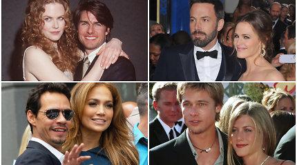 Labiausiai šokiravusios ir netikėtos užsienio žvaigždžių skyrybos: kas išardė šias Holivudo santuokas?