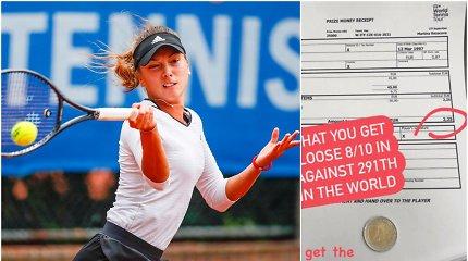 """Tenisininkė parodė laimėtą turnyre premiją – 2 eurų monetą: """"Tikiuosi, tai pokštas"""""""