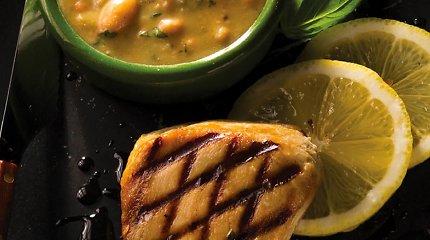 Tuno filė su pupelėmis ir pesto padažu