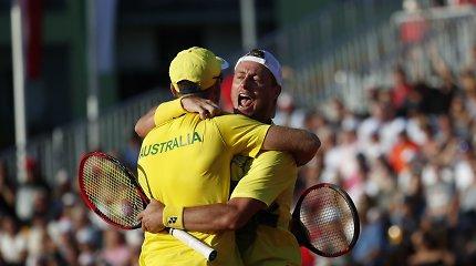 Žaidžiantysis treneris: L.Hewittas Australijai uždirbo svarbų tašką Daviso taurėje