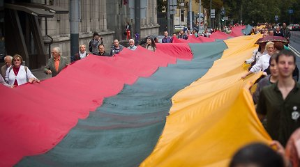 Kelias link laisvės: trispalvę Katedros aikštėje gynė gyva grandine