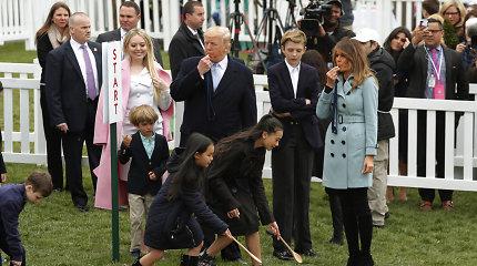 D.Trumpas švilpuku davė pradžią Baltųjų rūmų margučių ridenimo šventei