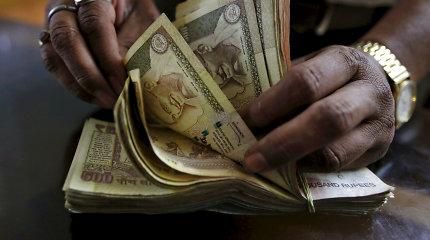 Indijos centrinis bankas penktą kartą šiais metais sumažino palūkanas