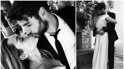 Slapta ištekėjusi Miley Cyrus pasidalijo romantiškomis vestuvių nuotraukomis