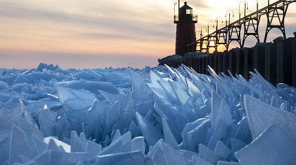 Mičigano ežeras virto ledo šukėmis