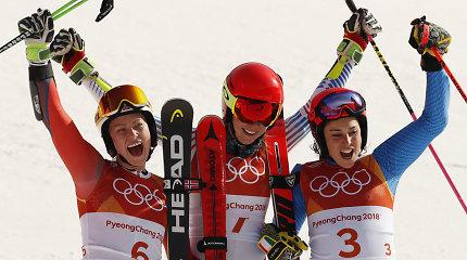 Kalnų slidinėjimo pirmieji aukso medaliai atiteko amerikietei ir norvegui