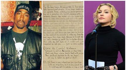 Parduodamas kalėjime rašytas reperio Tupaco laiškas Madonnai: jame – itin atviros skyrybų detalės