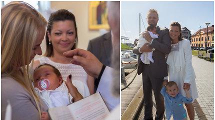 Pakrikštyta prieš mėnesį gimusi menininkės Agnės Kišonaitės dukra: abi puošėsi vienodomis suknelėmis