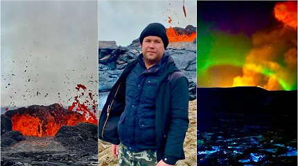 Lietuvis užfiksavo užburiančius Islandijoje besiveržiančio ugnikalnio kadrus: prie jo keliavo net keturis kartus