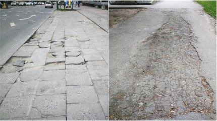 """Kauno """"gėda"""" – palijus ilgiausios gatvės šaligatvis įveikiamas tik su botais"""