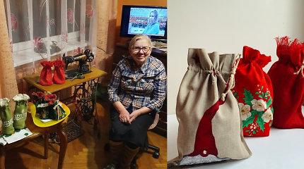84-erių Vincenta ramybės per karantiną ieško siūdama: negalėdama eiti į bažnyčią, ėmė gaminti maišelius
