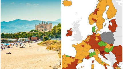 Paveiktų šalių sąrašas: žalia lieka tik viena šalis, bet mažėja raudona zona