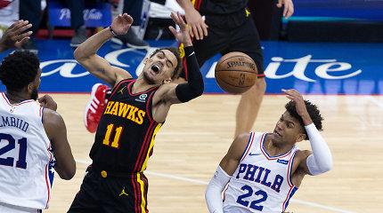 """Filadelfijoje pergalės vėliavą įsmeigę """"Hawks"""" – Rytų konferencijos finale"""