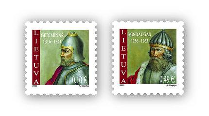"""Išleidžiama pašto ženklų serija """"LDK simboliai. Lietuvos valdovai"""", juose – kunigaikštis Gediminas ir karalius Mindaugas"""