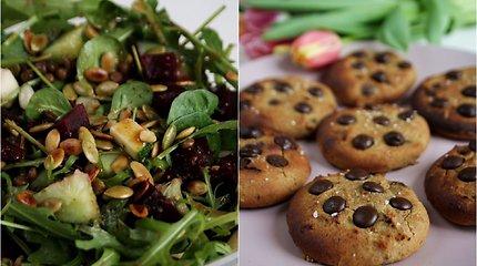 auGalingas pirmadienis: sočios lęšių salotos su burokėliais ir minkšti sausainiai su riešutų sviestu