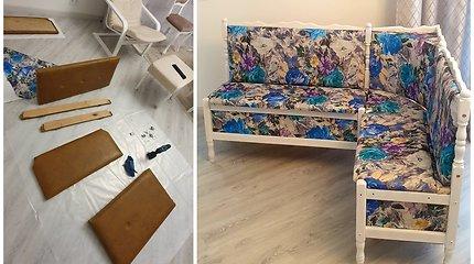 Kristinos Kriščiūnaitės atnaujinti baldai: prieš ir po
