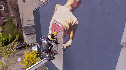 Unikali dovana Kauno miestui gimtadienio proga – ant pastatų sienų įamžinti kultūros simboliai