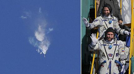 """Nepavykęs Rusijos erdvėlaivio """"Sojuz"""" kilimas: astronautams teko evakuotis"""