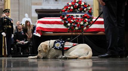 Jaudinanti akimirka: ištikimas H.W.Busho šuo paskutinį kartą atsisveikino su šeimininku