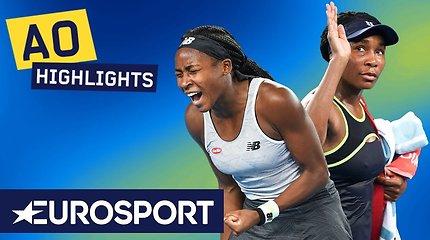 """""""Australian Open: Coco Gauff prieš Venus Williams. Dvikovos akimirkos"""