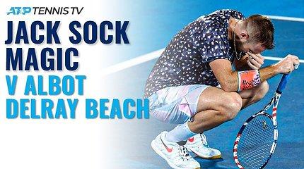 """Gražiausi Jacko Socko taškai emocijų kupiname mače prieš """"Delray Beach Open"""" čempioną Radu Albotą"""