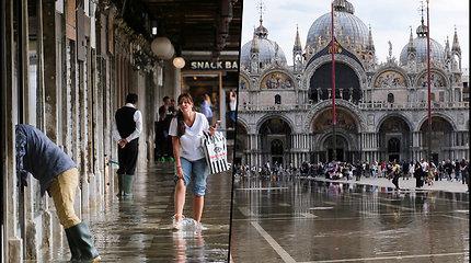 Venecijoje iškrito rekordinis kritulių skaičius – gyventojams teko išsitraukti botus