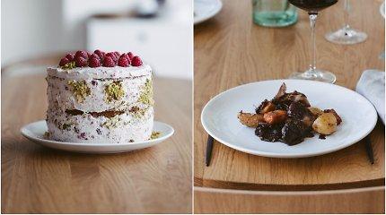 """2 receptai Velykoms iš knygos """"KitchenJulie"""": vyne troškinta ėriena, pistacijų ir aviečių tortas"""