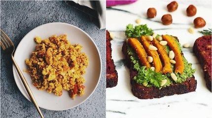 auGalingas pirmadienis: tofu kiaušinienė su pomidorais ir morkų lapų užtepėlė