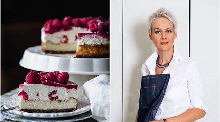 Nidos receptas: varškės tortas su avietėmis ir kokosiniais jogurto putėsiais
