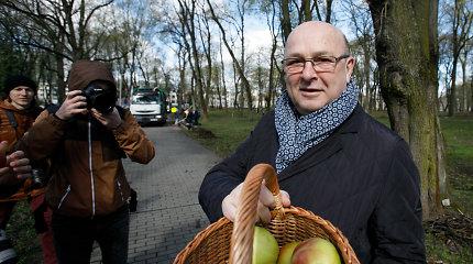 Kauno meras Visvaldas Matijošaitis tvarkdarius vaišino obuoliais