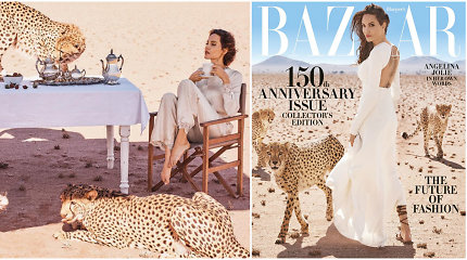 Angelina Jolie nepabūgo žurnalo viršeliui pozuoti kartu su trimis gepardais
