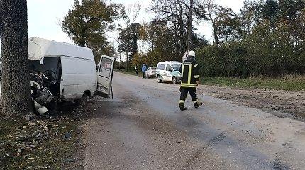 Siaubingas mikroautobuso smūgis į medį prie Šilutės: vairuotojas žuvo vietoje